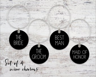 Wedding Party Wine Glass Charms Set of 4 Wine Charms Metal Charms