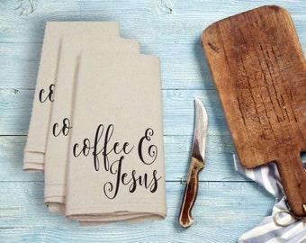 Coffee and Jesus Tea Towel Flour Sack Towel Kitchen Towel