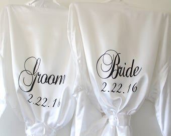 White His and Hers Robes, Mr and Mrs Gifts, Bride Spa Satin Kimono Robes, Mens bathrobe Honeymoon Lingerie Wedding Party Personalized Robes