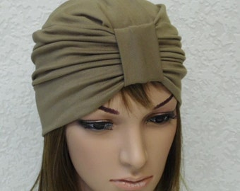 Women's turban, stretchy turban, full head covering, stylish hat, front knotted turban hat for women, made from viscose jersey
