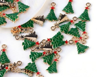 2 Pieces Gold Plated Red & Green Enamel Christmas Tree Charms