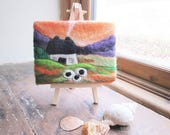 Textile art, felted art, country cottage
