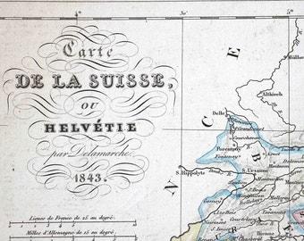 old map Swiss - Helvetie in  1843  - Atlas Delamarche