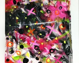 """Not unnoticed' 52"""" x 40"""" by JM Blanchett. Original artwork, acryl and spraypaint on paper. Abstract expressionistic artwork"""