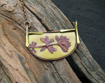OOAK electroformed leaves imprint pendant with yellow enamel (FREE SHIPPING)