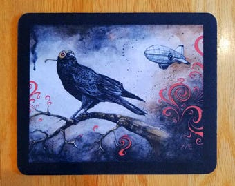 SALE! Mousepad - Dirigible Crow, Watercolour Bird Crow