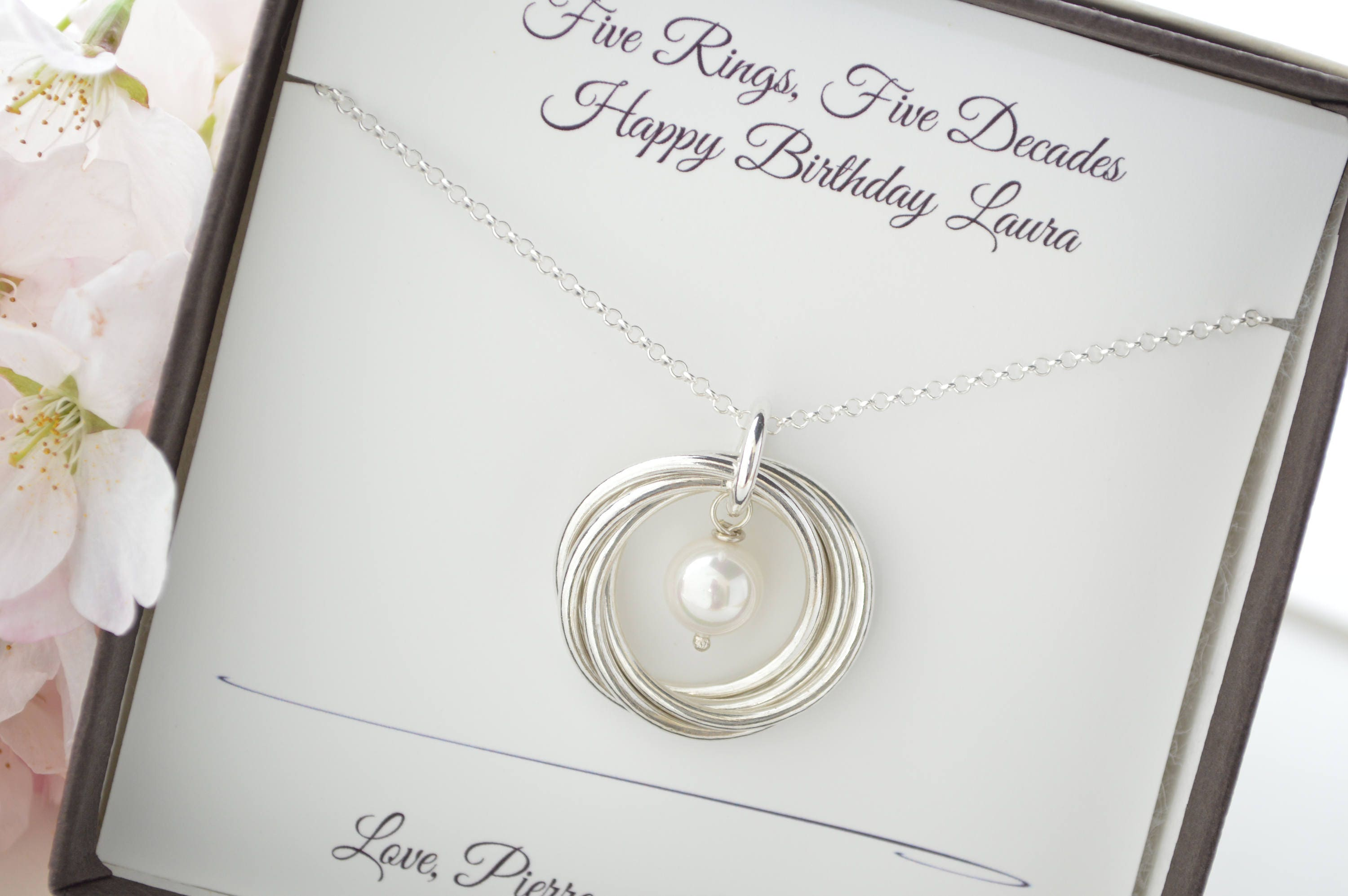 Gifts For 50th Wedding Anniversary For Friends: 50th Birthday Gift For Mom Necklace, 5 Best Friends