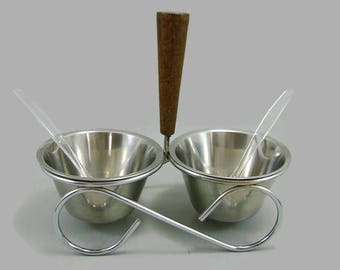 MCM Stainless Steel and Teak Rostfritt Sweden Condiment Server in Holder with Spoons, Danish Modern Serving Set