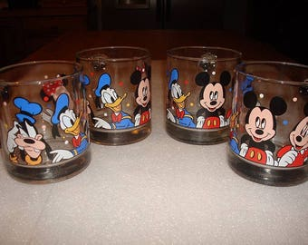 Set Of Four Collectible Heavy Glass Disney Mugs