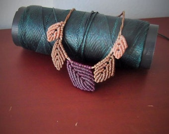 Brown and purple fairy leaves macrame necklace