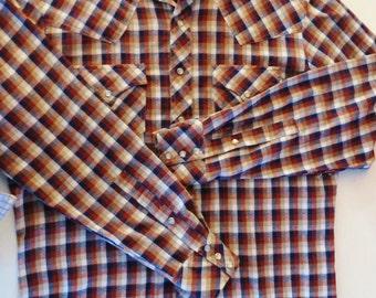 Vintage Western Shirt, Rocking K Ranchwear, Brown Navy Blue Plaid Cowboy Shirt, Pearl Snaps, Pointed Yoke, Flap Pockets, Country Western, XL