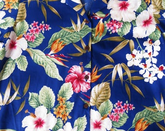 Women's Vintage Cotton Hawaiian Shirt, Orchids Hibiscus, Bishop St,  made in Hawaii, Royal Blue Tropical Floral Print Blouse, Size M Aloha,