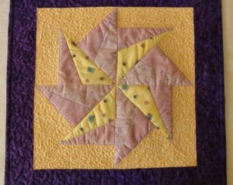 Quilted Spring Table Topper, Pinwheel Candle Mat, Table Quilt,  Housewarming Gift, Summer décor, Gift for Her Home, Yellow and Purple, OOAK