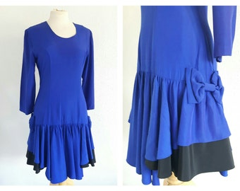 Vintage 1970s Electric Blue Drop Waist Dress - Vintage Bow Dress - Flippy Ruffle Tiered