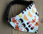 Sushi Cat Bandana, Slide On Collar Accessory, Handmade in Canada, Food, Dog Clothing, Pet Fashion Accessories