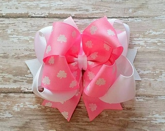 Pink Shamrock Bow....White Glitter Shamrocks...Pink and White Shamrock Bow...Pink and White St Patrick's Day Bow...Pink and White Bow
