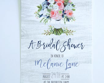 BRIDAL SHOWER INVITATIONS  - Rustic with bouquet of flowers