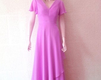 Lavender Prom Dress. Long Bridesmaid Dress. Prom Dress With Sleeves.
