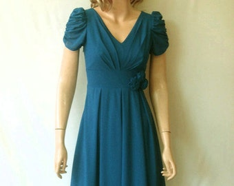 Teal Blue Bridesmaid Dress. Dress With Sleeves.