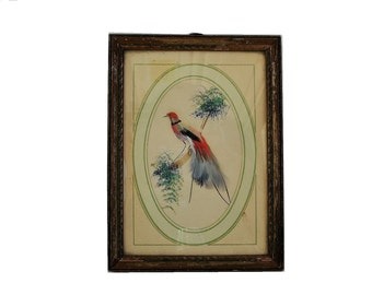 Vintage Feather Bird Framed Wall Hanging