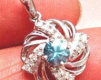 14K Blue Zircon Diamond Pinwheel Spiral Pendant MidCentury White Gold
