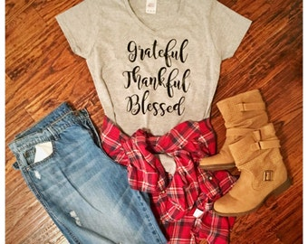 Grateful Thankful Blessed V Neck Women's Short Sleeved Tee / Shirt