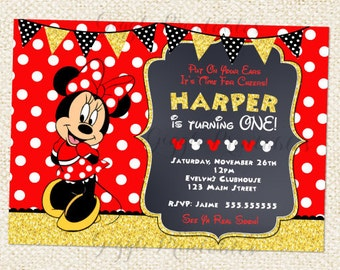 Red Minnie Mouse invitations, Minnie Mouse Birthday Invitations, Red and Gold Invitations, Baby Minnie Invitations