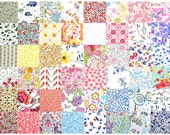 """Liberty Fabric 48 Mini 2.5"""" Charm Pack Squares Patchwork Quilting Floral muted pastel pale light low volume Liberty London Tana Lawn"""