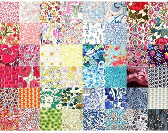 """SALE 15% off Liberty Fabric 48 Mini Charm Quilt Squares 2.5"""" Patchwork Quilting Floral Multi Colours Liberty of London Cotton Tana Lawn"""