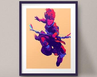 Aloy Jumping Bow Art Print Horizon Zero Dawn Game Poster