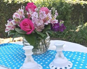 Milk Glass Candle Holders - Westmoreland Candle Holders - Pair Vintage Candle Holders - Vintage Candle Holders - Wedding Decor