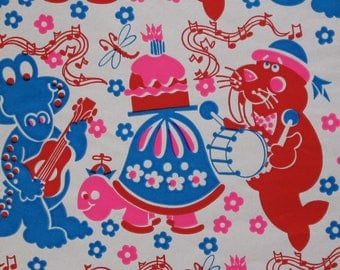 Vintage Tuttle Juvenile BIRTHDAY Gift Wrap - Wrapping Paper - ANIMAL JAM - 1960s 1970s