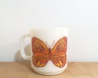 Vintage Glassbake Butterfly Mug