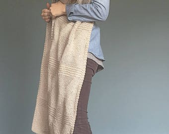 The ANNA // Textured Super Scarf in Soft Vegan Yarn // In Color NATURAL // Oversized Shawl Wrap // Ready to Ship!