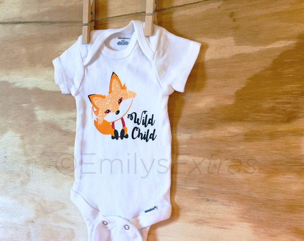 Onesie Baby Onesie Wild Child Onesie Fox Onesie Cute Onesie