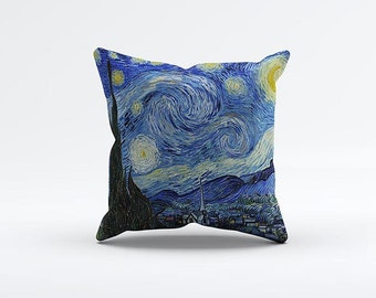Starry Night Van Gogh Pillow Cover 15 x 15 inch, Painting cushion cover, Decorative Pillow Cover, Home decor