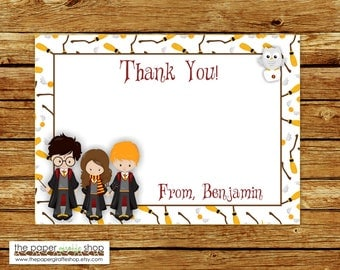 Harry Potter Thank You Card | Harry Potter Party | Wizards & Witches Thank You Card | Wizards Party | Harry Potter Invite