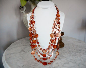 Brown Multi Layered Mother of Pearl Shell Necklace, beach jewelry, Shell Beaded Necklace, Brown Necklace, Summer Jewelry, Shell Necklace
