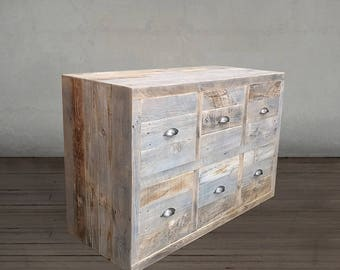 Reclaimed Wood Dresser,  Grey Wood Chest of 6 Drawers