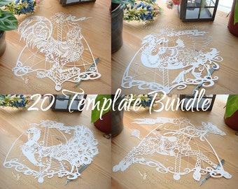 20 Carousel Animal Papercutting Template Bundle #1, template Bundle, personal use, papercut artwork, diy paper crafts