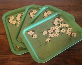 1950s Vintage Metal TV Kitchen Trays Mint Green Flower Cherry Blossom