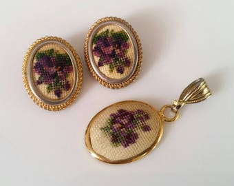 Vintage Embroidered Needlepoint Pendant & Earrings Demi Parure Set Purple Flowers, Gold-Tone Victorian Cameo Style
