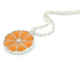 Silver orange Necklace, choker orange, Charm dainty pendant, sterling silver chain, orange jewelry, food jewels, fruits