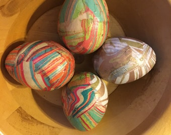 Marble Tissue Handmade Decoupage Paper Mache Easter Eggs: Set of Four