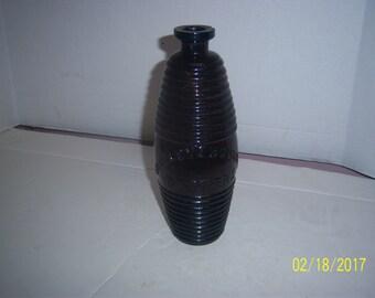 """1870's Greeley's Bourbon Bitters 9 3/8"""" Puce Barrel Figural Medicine Bottle"""