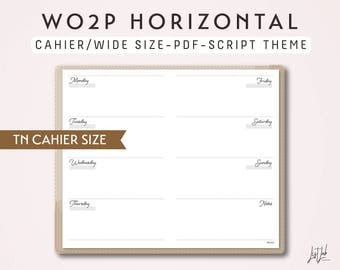 CAHIER SIZE TN Week on 2 Pages Horizontal WO2P - Printable Traveler's Notebook Insert - Script Theme