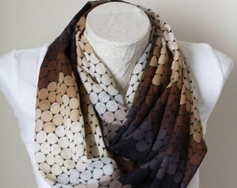 Ombre Scarf Brown Infinity Scarf Fashion Accessories Gift for Her Grandmother Gift