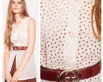 S.A.L.E was 150 now 100 designer vintage 80s/90s EMANUEL UNGARO cutwork cotton broderie anglaise vest blouse top