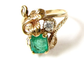 Vintage Emerald and Diamond Ring - 10K Yellow Gold Natural Emerald and Diamond Ring - Weight 3.9 Grams - May Birthstone - Size 8 1/4 # 4326