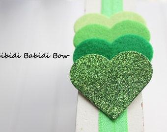 St Patrick's day headband-Green hearts- Baby girl headband-Gift-Girl headband -Hair accessory -Toddler headband- Babyshower